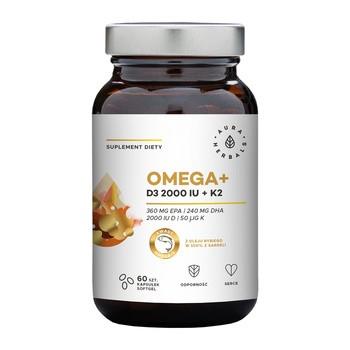 Omega + Witamina D3 2000 IU + K2, kapsułki miękkie, 60 szt.