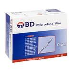 Strzykawka insulinowa BD Micro-Fine Plus, 0,5 ml, U100 z igłą G30, 100 szt.