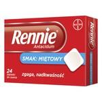 Rennie Antacidum, 680 mg+80 mg, tabletki do ssania, smak miętowy, 24 szt.