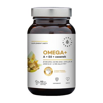 Omega + Witamina A + D3 + Czosnek, kapsułki miękkie, 60 szt.
